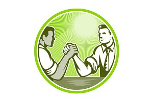 Businessman Office Worker Arm Wrestl