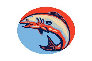 Atlantic Salmon Fish Jumping Retro