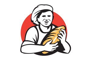 Baker Holding Bread Loaf Retro