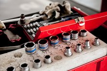 Socket wrench set in car garage