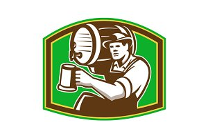 Barman Bartender Pour Beer Barrel