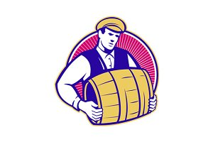 Bartender Carrying Beer Keg Retro