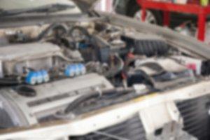 Defocus of Car engine in the hood