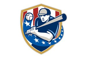 Baseball Hitter Batting Stars St