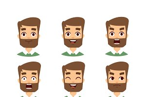 Bearded man face vector