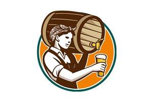 Woman Bartender Pouring Keg Barr