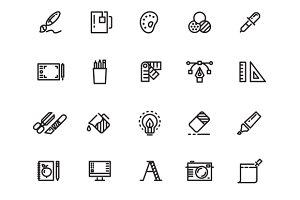 Graphic design tools line icons