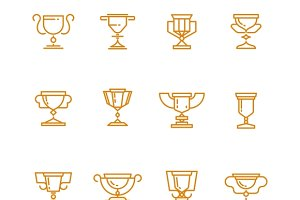 Trophy cup line vector icons set