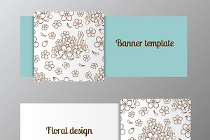 Banner template ornate flower
