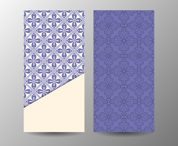 Vertical blue floral banner template