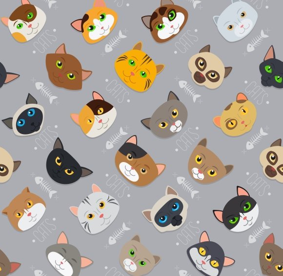 Fur cats pattern vector background in Graphics