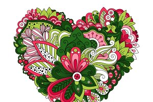 Doodle summer flowers in heart shape