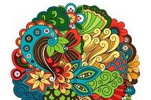 Ethnic doodle floral circle pattern
