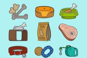 Pet dog doodle icons