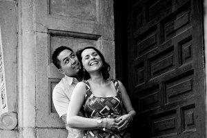 Engagement Couple in Doorway B/W