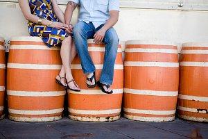 Engagment Couple on Orange Barrels