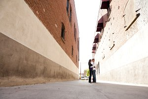 Engagement Couple in Alley Way