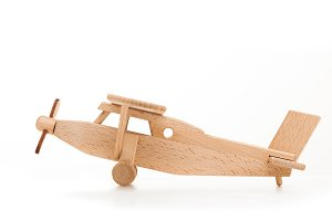 Retro wooden airplane.