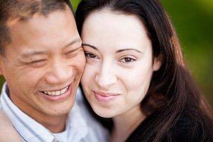 Engagment Couple Close Up Portrait