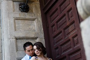 Engagement Couple in Antique Doorway