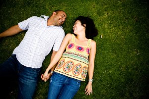Engagment Couple on Grass