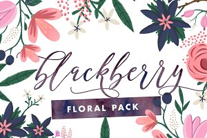 Blackberry - Painted Floral Graphics