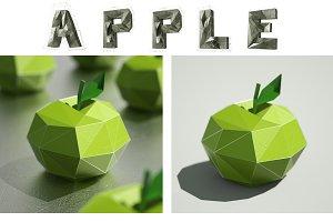 3D apple & banana illustration