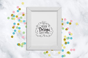 White Frame with confetti mockup