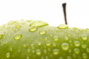 wet apple closeup