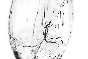 Water flowing to a cup. The stream and the cup is isolated with clipping path
