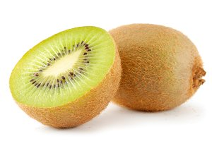 two kiwis isolated on white background