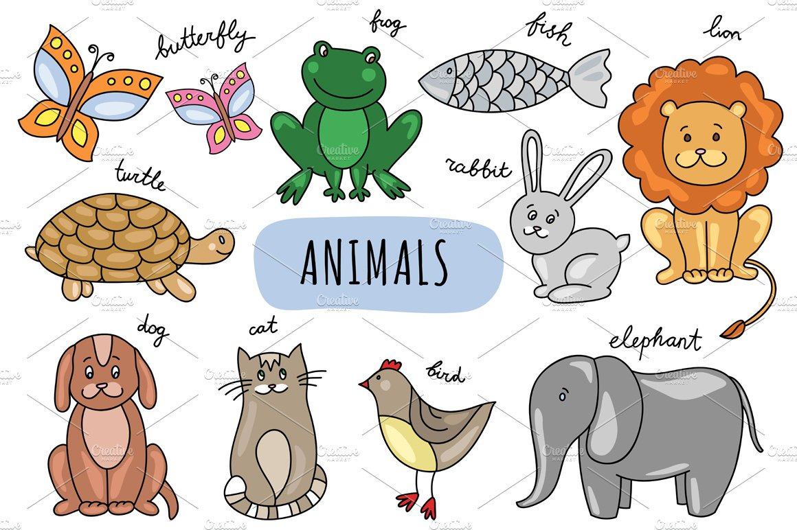 Uncategorized Drawn Pictures Of Animals vector hand drawn animals pattern graphics creative market