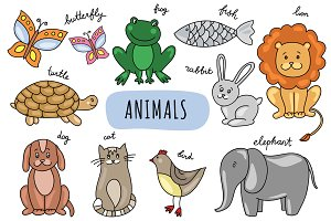 Vector hand drawn animals & pattern