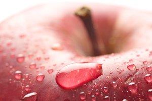 wet apple closeup