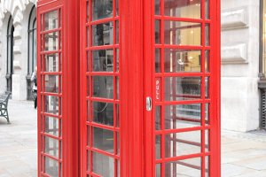 Red phone box in London