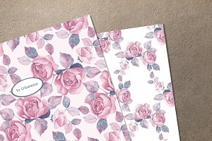 Floral garden. Watercolor patterns