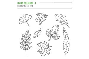 Set of 19 thin line leaves