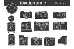 Old retro photo camera set