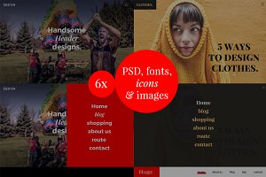 6 x psd header with menu (200 icons)