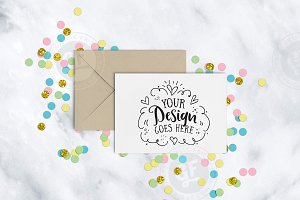 Confetti Greeting Card Mockup