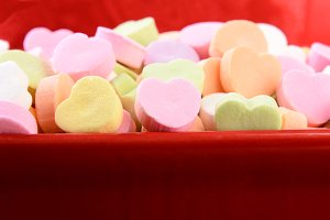 Assorted Candy Hearts in Red Bowl