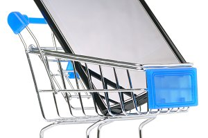 touch screen phone in shopping cart