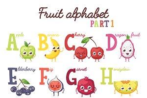 Fruit alphabet vector