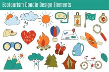 Ecotourism isolated design elements