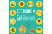 Ecotourism flyer, poster. Vector.