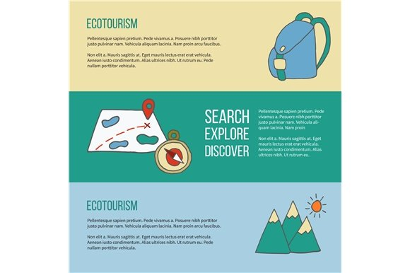 Ecotourism flyer, poster. Vector. - Illustrations