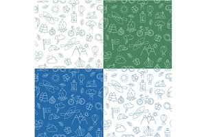 Ecotourism seamless patterns