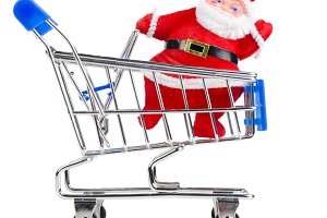 Santa Claus in chopping cart