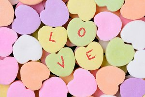 Candy Hearts Macro With LOVE Spelled