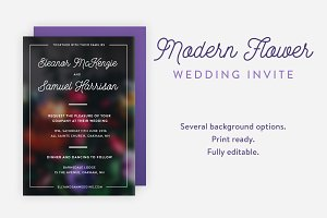 Modern Flower Wedding Invite